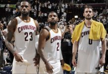 LeBron James, Kyrie Irving, and Kevin Love